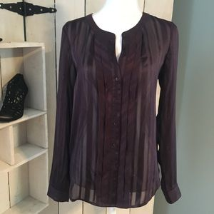 LOFT sheer shimmery striped button down blouse